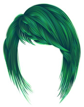 Trendy Woman Hairs Green Colors Kare With Bangs Medium Length Fashion Beauty Style