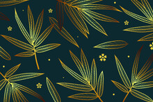Seamless Pattern With Gold Leaves