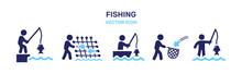 Man Fishing Icon Vector Illustration. Leisure Activity Concept