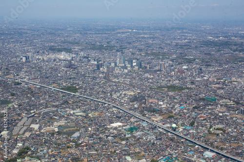 Fotografia 首都高大宮線の浦和北インター上空からさいたま新都心方向を空撮