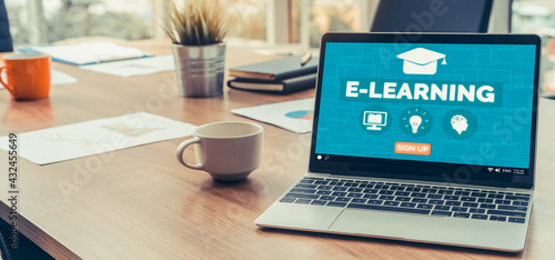 Fototapeta E-learning and Online Education for Student and University Concept. Video conference call technology to carry out digital training course for student to do remote learning from anywhere. obraz