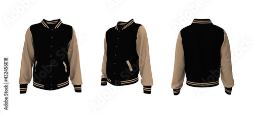 Tableau sur Toile Varsity jacket mockup in front, side and back views