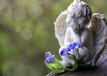 Engel Vergissmeinnicht  Beileidskarte