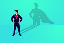 Superhero Businessman Concept. Standing Brave Person With A Cape In Hes Shadow. Strong Leadership Metaphor. Personal Strength Confident Success Growth Vision