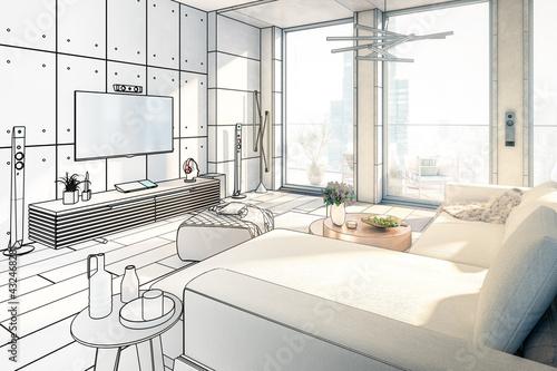 Fototapeta Open Loft Area Living Room (draft) -  3D Visualization obraz
