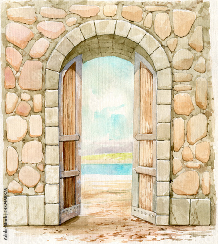 Fotografiet Fortress gates painted in watercolors