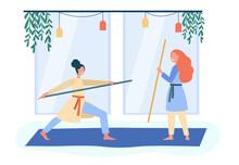Smiling Women Training Asian Martial Arts Body Stick Wellbeing Flat Illustration Cartoon Illustration