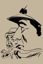 Sherlock Holmes And Doctor Watson Sketch Vector Illustration