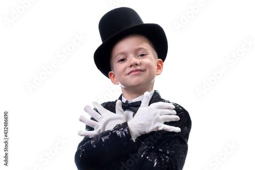 Fényképezés Magician kid illusionist boy in hat