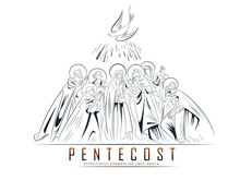 Pentecost Sunday With Flame And Holy Spirit Dove, Catholics And Christians Religious Culture Holiday