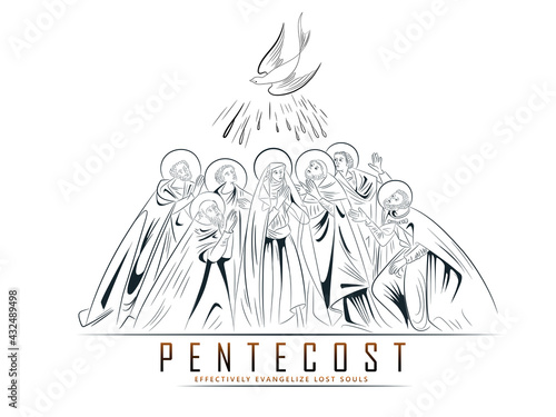 Stampa su Tela Pentecost Sunday with flame and holy spirit dove, Catholics and Christians Relig