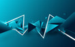 Abstract blue triangle floating diffusion with white laser lines in Futuristic technology digital hi-tech concept. 3d vector illustration
