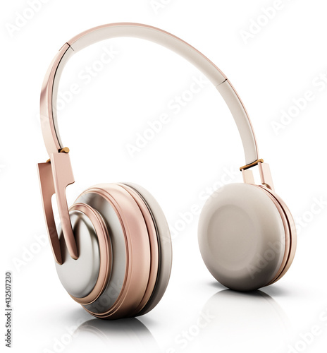 Rose gold headphones isolated on white background. 3D illustration - fototapety na wymiar
