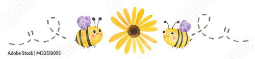 Fényképezés Cute watercolor bumblebee flying to a daisy flower