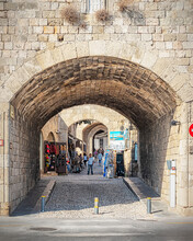 Rhodes Old Town City Wall Archway Market Entrance