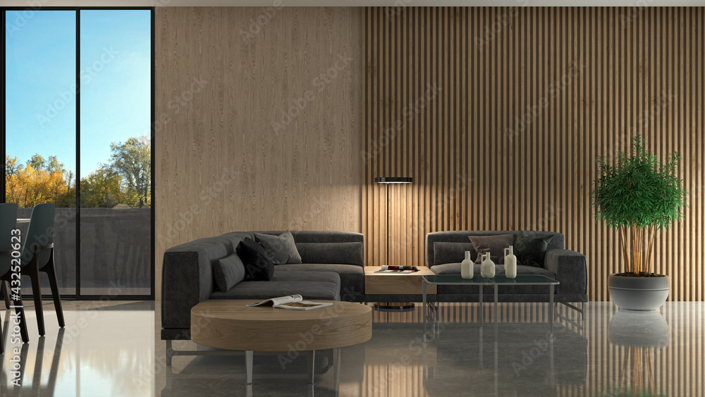 Leinwandbild Motiv - 3DarcaStudio : Illustration 3D rendering large luxury modern bright interiors Living room mockup computer digitally generated image