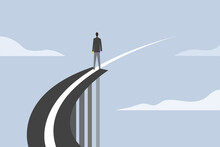 Conceptual Illustration Of A Businessman Stands On The Edge Of A Broken Bridge And Its Divider Line Continues