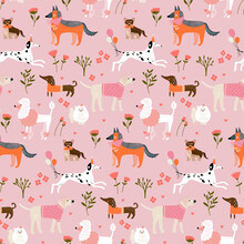Children's Seamless Pattern With Hand Drawn Dogs. Trendy Scandinavian Vector Background.