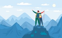 Mountain Hiking. Tourists Standing On Top Of Hill. Hiking And Climbing Activity, Outdoor Recreation. Landscape With Mountains Vector Illustration. Happy Couple Feeling Freedom, Exploration