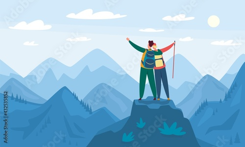 Mountain hiking. Tourists standing on top of hill. Hiking and climbing activity, outdoor recreation. Landscape with mountains vector illustration. Happy couple feeling freedom, exploration - fototapety na wymiar