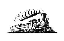 Moving Retro Steam Locomotive. Vintage Train Emblem Or Symbol Vector Illustration