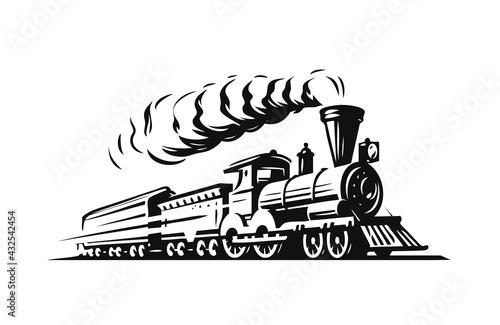Obraz na plátně Moving retro steam locomotive