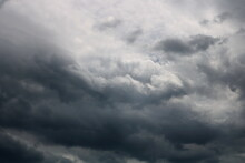 Dark Sky And Dramatic Black Cloud Before Rain