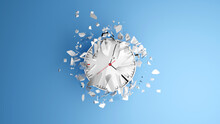 Deadline Concept With Simple Style Clocks Smashed To Pieces On A Blue Background. Abstract 3d Illustration