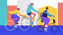 Flat Illustration Of Three Girls Wearing Casual Clothes Riding Different Kinds Of Bicycles On The Street Of A City