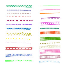 Set Of 26 Pattern Brushes. Vector Illustration. Isolated On A White Background. Hand-drawn In The Style Of A Doodle. Cartoon. It Can Be Used In Banners And Posters.