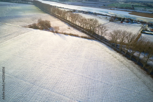 Drone winter snowy landscape with trees and road.