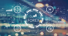 Forex Trading Concept With Blurred City Lights