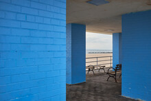 Blue Brick Walled Shelter With Bench At Coney Island