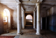 Old Abandoned Historical Mansion, Inside View