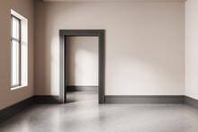 Light Empty Living Room With Door And Window, Concrete Floor And Mockup