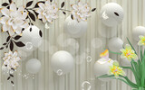 3D wallpaper for home interior classic decorations background Flowers Classic bedroom interior illustration 3d wall art