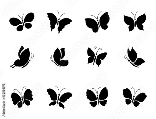 A set of different butterfly silhouettes.