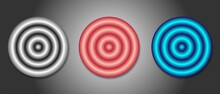 Large 3d Round Buttons In Three Colors Silver, Pink, Blue, Original 3d Website Banners, Radial Shape, Circle In A Circle, Vector Illustration