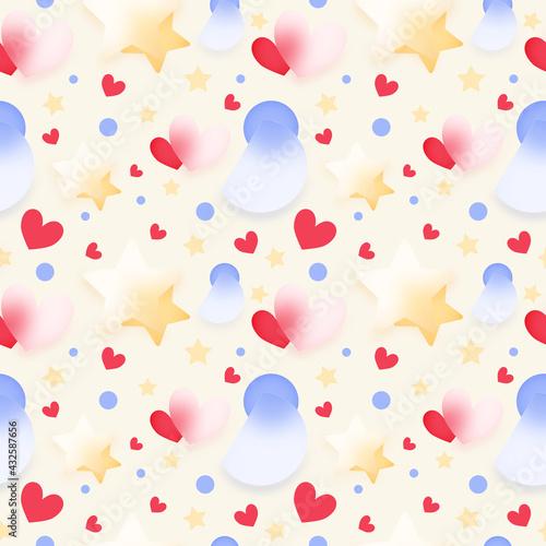 Urodzinowa tekstura. Powtarzalny abstrakcyjny wzór - serca, gwiazdki, koła. Nadruki na tkaninach, papier do pakowania, tapeta, tekstylia, tło na kartki lub instastories. - fototapety na wymiar