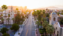 Aerial Sunset View Of The Downtown Area Of Riverside, California.