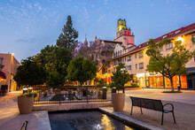 Twilight View Of The Historic Section Of Downtown Riverside, California.