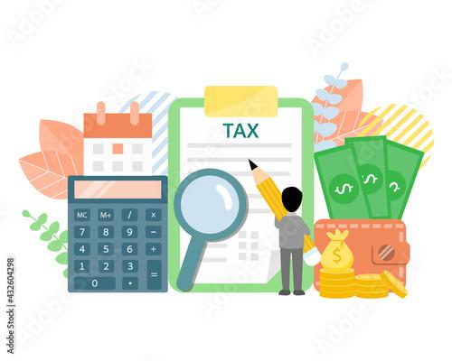 Businesssman holding pencil to fill in tax form Fototapeta