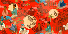 Ancient China Seamless Pattern. Classic Wall Drawing. Tradition And Culture Of Asia. Murals And Watercolor Asian Style. Oriental People. Traditional Chinese Paintings