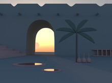 An Arch,a Palm Tree, A Staircase In The Desert.3 D Render Of The Architecture Of Africa