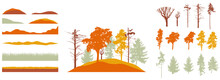 Creation Of Autumn Beautiful Park, Forest, Landscape, Woodland, Collection Of Design Element. Constructor Kit. Silhouettes Of Bare Trees, Spruce, Pines And Etc., Grass, Hill. Vector Illustration.