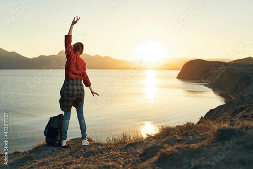 woman outdoors Horizon nature Freedom luxury adventure - fototapety na wymiar
