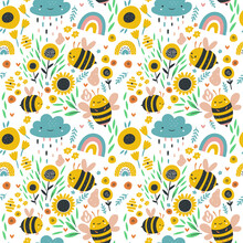 Little Bee. Beautiful Seamless Pattern With Honey Bees. Lovely Vector Children Illustration. Perfect For Kids Fabric, Textile, Wrapping.