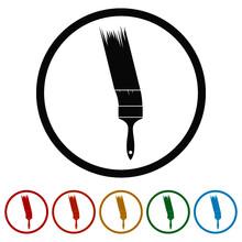 Paint Brush Ring Icon Isolated On White Background Color Set