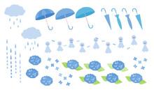 梅雨のイラストアイコンセット ベクター 青色
