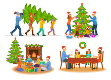 Family's  Christmas Winter Activities Set. Man Woma And Children Carry Xmas Tree; Decorating It With Balls, Garland And Stars; Sitting On Floor, Giving Exchanging Presents And Celebrating